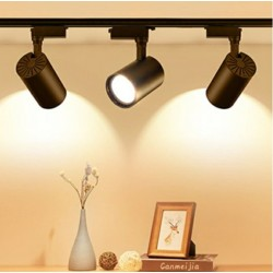 AKDENİZ 1 Metre Raylı 3 Adet 30w Ray Spot Vitrin Mağaza Armatürü Siyah Kasa Sarı(günışığı) Işık Spot Lambalar