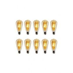 Akdeniz aydınlatma EDİSON Edison St64 Flamanlı Rustik 4W Led Ampul 10'lu Dekoratif Vintage Aydınlatma Amber Rengi ST64 10lu