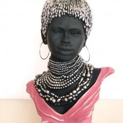 Afrikalı Kısa Saçlı Kadın Tasarımlı Büst / Heykel