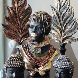 Afrikalı Örgü Saçlı Kadın Tasarımlı Büst / Heykel