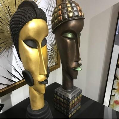 Afrikalı Küpeli Çift Tasarımlı Büst / Heykel