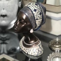 Afrikalı Küpeli Kadın Tasarımlı Büst / Heykel